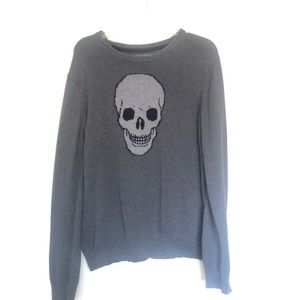 Knit medium skull aeropostal crewneck sweater grey